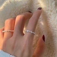 Anelli a fascia perlato multi in rilievo vintage naturale perle d'acqua dolce geometrica anello dito elastico geometrico per le donne ragazze continui cerchio minimalista regalo gioielli