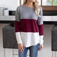Женщины футболка модные дизайнеры Популярные моды сращивание круглые шеи с длинным рукавом верхний цветовой контрастность в осенью и зимние тройники поло сочетающие леггинсы и платья