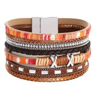 Bangle 2021 Women's Woven Multi-layer Crystal Magnetic Clasp Bracelet Charm Handmade Leather