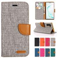 Denim Blandade färger Läderflipväska för Samsung Galaxy S20 S10 E 5G S9 S8 S7 S6 S5 Plus Pro Edge Note 10 9 8 Telefon Plånbok