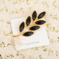 Brand Fashion Jewelry Vintage Camellia Flower Style Black Leaf Brooch Sweater Jewelry Light Gold Color Fine Top Quality Pearls