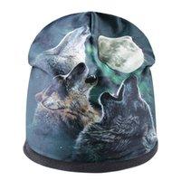 Shang Yuanyue Wolf Howl Print Pullover Hat Otoño e invierno Mujeres de punto Hombre Cálido XGU1