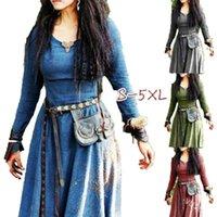 Casual Dresses Mittelalterliches Kleid Frauen Langarm Maxi Robe Vintage Fairy Elven Renaissance Viking Gothic Kleidung Fantasie Ball Kleid