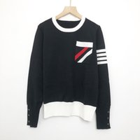 819 2021 Autumn Brand Same Style Sweaters Regular Long Sleeve Crew Neck Long Pullover Black White Women Clothes niu
