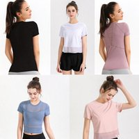 Yoga Outfits Women's Sports lulu designer mon t shirts Short Sleeve Gym Sport outfit Breathable mesh tShirt t5xH#