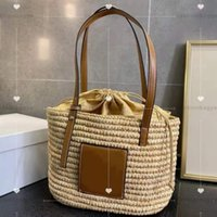 Designer straw shopping bag summer beach bags Fashion patchwork leather woman purse bucket handbag party must have classic luxury vegetable basket