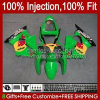Spritzguss-grüne rote Körper für Kawasaki Ninja ZX-636 ZX 600 CC 6 R ZX636 ZX-600 ZX6R 00 01 02 Karosserie 37HC.56 ZX 636 600CC ZX-6R ZX600 ZX 6R 2000 2001 2002 OEM-Verkleidung glänzend