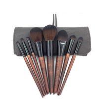 8個の模造黒檀の化粧ブラシを設定木製のハンドルプロフェッショナルメイクアップツールキットアイブラシ柔らかい髪初心者に適した髪