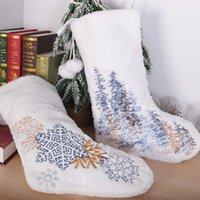 눈송이 크리스마스 트리 자수 크리스마스 스타킹 화이트 플러시 Drawstring 지갑 스타킹 PoM 공 Xmas 양말 어린이 선물 가방 이브 파티 장식 G85OFRC