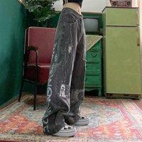 여성 청바지 바지 스트리트 힙합 잘 생긴 복고풍 캐슈 꽃 스티커 BF 느슨한 캐주얼 야생 데님 긴 넓은 다리 인