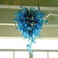 Элегантное искусство синие цветные лампы ручной узор Мурано люстры Освещение гостиной спальни украшения светодиодные лампы изготовленные на заказ люстра 60 * 100см подвесной свет