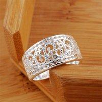 925 Sterling Silver Jewelry Vintage Hollow Pattern Wide Bides Wedding Argento anelli per le donne Uomo ANEL DE PRATA BIJOUX 1583 V2