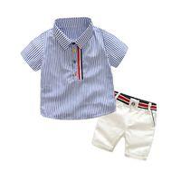 Jungen Sommer Mode Kleidung Sets Kinder Gestreifte Kurzarm T-Shirt + Shorts 2 Stück Anzug Gentleman Kleidung für Kinder 1005 V2