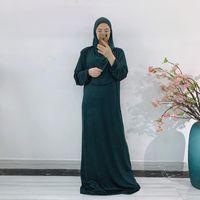 Etnik Giyim Eid Kapüşonlu Müslüman Kadınlar Başörtüsü Elbise Dua Giysi Jilbab Abaya Uzun Khimar Tam Kapak Ramazan Kıyafeti Abayas İslam Giysileri N