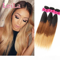 Indian Raw Virgin Hair Straight 1B 4 27 Hair Extenisons 3 Bundles Indian Straight Weaves Natural Color From Leila