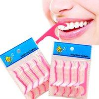 25pcs / set stuzzicadenti per la cura orale Ultra-Fine Dental Floss Stick Family Pack Sottile filo metallico piatto Imballaggio portatile indipendente,