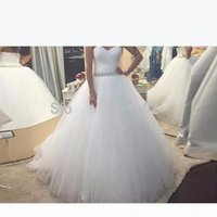 New Custom Made Ruched Wedding Dresses Sweetheart Pleated Tulle Ball Gowns Beaded Sash Bridal Dresses Plus Size Lace up