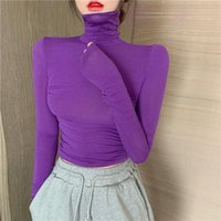 Women's T-Shirt Spring And Autumn Solid Color Temperament Slim Long-sleeved High-neck Bottoming Women