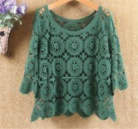 Women's Blouses & Shirts 2021 Summer Crop Tops And Korean Fashion Loose Lace Blouse Vintage Floral Crochet Hollow Out Shirt Women