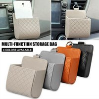 Storage Bags Car Leather Basket Retro Auto Interior Air Vent Bag Cellphone Holder Pounch Box With Hook KSI999