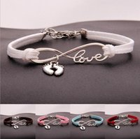 Charm Bracelets 10pcs lot Infinity Love 8 Bracelet Ankle baby Feet Pendant Women  Men Simple Bracelets Bangles Jewelry Gift N9