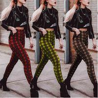 Leggings Women Stretchy High Waist Fashion Plaid Pattern Ladies Streetwear Pencil Pants Skinny Leggings Polainas De Las Mujeres