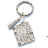Party Gifts Designer Bag Wallet Leopard Print PU Leather Bracelet Keychain Wallets Credit Card Tassels Key Ring Holder Wristlet HWD10373