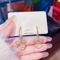 Dangle & Chandelier Cute Mouse Drop Earrings Hook Cartoon Bear Crystals Wholesale Hollow Pendant Delicate Fashion Jewelry For Women 2021