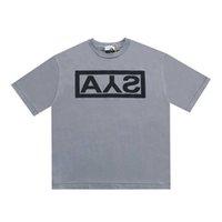 Piezywanie Druk ASKYURSELSH BOX Koszulki Mężczyźni Kobiety Płukany Cement Grey Ays T Shirt Top Tees