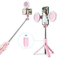 Sem fio Bluetooth selfie vara com LED anel luz tripé dobrável monopé para iphone xiaomi huawei samsung android vivo tripé