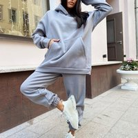 Autumn Winter 2 Piece Set Women's Tracksuit Oversized Hoodie + Pants Solid Outfits Casual Sport Suit Two Women Tracksuits