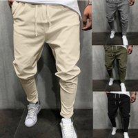 Men's Pants Men Casual Pocket Mid-waist Linen Cotton Sports Trousers Summer Breathable Fitness Elastic Waist Loose Male Streetwear