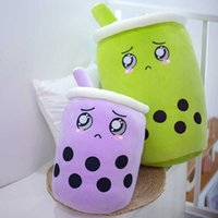 25-70CM Cute Bubble Green Purple Boba Tea Cup Throw Pillow Cushion Stuffed Food Milk Tea Soft Plush Doll Toy G0913