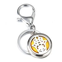 Keychains Creative 30MM Palm Perfume KeyChain Jewelry Stainless Steel Essential Oil Diffuser Locket Key Chain
