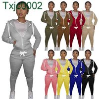Women Tracksuits Two Piece Set Designer Sweatsuits Hoodie Zipper Jacket Cotton Casual Long Sleeve Cardigan Joggers Pants Outfits 9 Colours