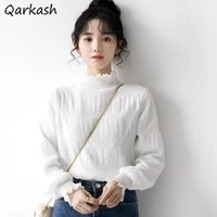 Women's Blouses & Shirts Women Long Sleeve Tender Casual Korean Ins Chic Spring College Solid Students Slim All-match Inside Femme Chiffon R