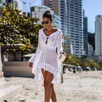 Mujer Playa Largo Maxi Vestido Blanco V Cuello Cubierto Cubierto Túnica Pareo Robe Traje de baño Traje de baño Ropa de playa Vestidos casuales
