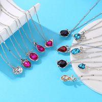 Pendant Necklaces Abdoabdo Heart Necklace Women Twelve Constellation Crystal Pendants Clavicle Chain Simple Wild Statement Set
