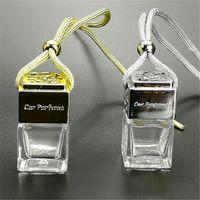 car perfume bottle cube pendant perfume ornament air freshener essential oils diffuser fragrance empty glass bottles ZZC3343