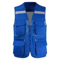 남성 조끼 도구 코트 패션 여름 사진 작가 Waistcoat 메쉬 작업 민소매 자켓 많은 포켓 남성