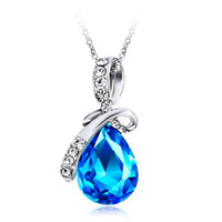 Pendentif Colliers Collier en cristal pour Femmes Mode Fashion Waterdrop Shiny Angel Tears Drop bijoux
