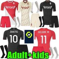 Adulto Kids Kit 21 22 Como Mônaco Home Jerseys Soccer Set 2021 2022 Ben Yedder Jovetic Golovin Chadli Gelson .m Classic Edição Especial de Futebol Define Uniformes