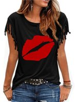 T-Shirt Mode2021 Frauen Große Rundhals-Kurzarm Kurzarm Fransen-Knoten-Druck