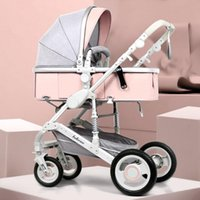 Strollers# Adjustable Lightweight Luxury Baby Stroller 3 In 1 Portable High Landscape Reversible Mom Pink Travel Pram