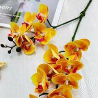 الزهور الزخرفية أكاليل 2 شوكة 16 رؤساء البسيطة السحلية phalaenopsis الاصطناعي وهمية المنزل الزفاف الديكور زهرية النبات حزب عيد الميلاد