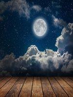 Night Sky Stars Moon and Chmury Winyl Photography Tło Wood Floor Photo Booth Tła dla dzieci Studio rekwizyty