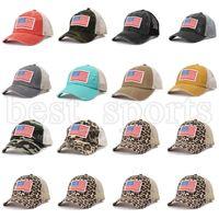 Leopard Ponytail Hüte Amerikanische Flagge Stickerei WASHED Net Caps USA Independence Day Hat Frauen Tarnung Baseballkappe CYZ3187
