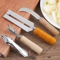 4 pcs morango casca de frutas peeler abacaxi corters cortador de fatiadores de aço inoxidável faca de cozinha gadgets pineapple slicer clipes