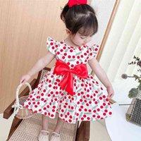 2021 Summer Printed Children's Girl's Vest Dress Small Flying Sleeve Dresses Fashion Cute Bowknot Kids Beach Skirt Clothes gG4IVFI3