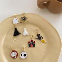 Stud Halloween Earrings Ghost Castle Cartoon Small Cute Spider Earclip Jewelry Girl